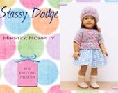 Knitting Pattern For American Girl Dolls - Hippity Hoppity Easter Top With Bonus Sewn Skirt - Doll Clothes Pattern- Stassy Dodge