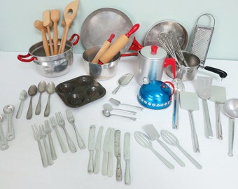 49 Piece Lot of Toy Kitchenware: Rolling Pins, Aluminum Tea Kettle, Coffee Pot, Flatware, Grater, Pots, Pans, Wire Whisks and More
