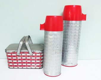 Aluminum Sears-Roebuck Thermos Set, J.C. Higgins Trademark, Pint & Quart Vintage Vacuum Bottles  with Red Tops