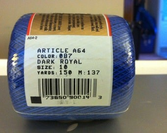 Knit Cro-Sheen Cotton Crochet Thread 150 Yards Dark Royal