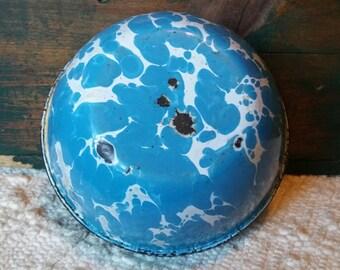 Vintage blue & white Graniteware Bowl