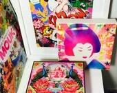 Super kawaii cute purple geisha graffiti art