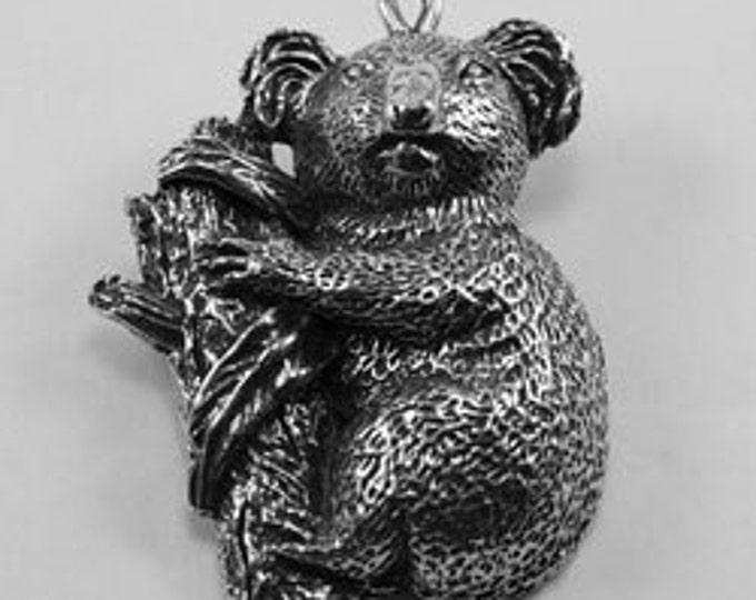 Koala on tree branch pendant made with quality Australian Pewter AF265