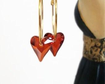 Red crystal heart hoop earrings - red magma - red heart earrings - crystal hoop earrings - heart earrings - Swarovski crystal