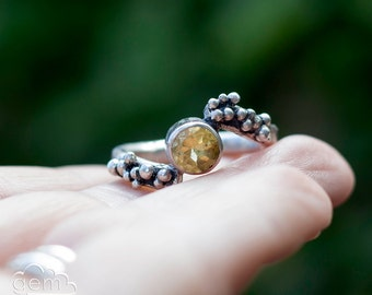 Sterling silver rustic ring with Citrine  - Grow -