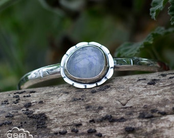Moonstone Cuff in hand stamped sterling silver, bohemian, rustic bracelet - Moonflower -