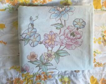 Blue morning glory vintage sheet, Full flat vintage sheet, Light blue floral sheet