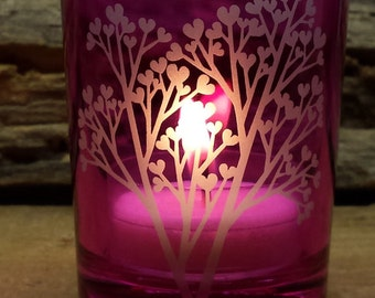 Pink 'Tree Of Love' Engraved Glass Votive Holder Wedding Favors Mother's Day Candle