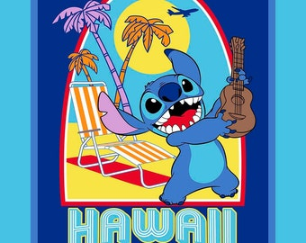 Stitch Hawaii Surf Club Disney PANEL sewing quilting cotton woven