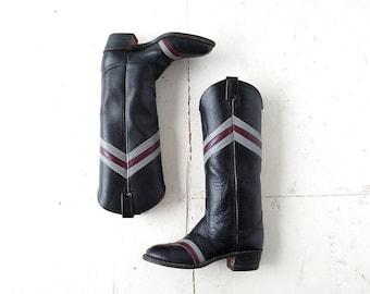 Vintage Capezio Boots / Chevron Cowboy Boots / 1970s Boots / Size 7