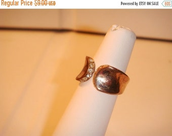 Summer Clear Out SALE Antique Vintage gold plated sterling silver ring with faux diamonds