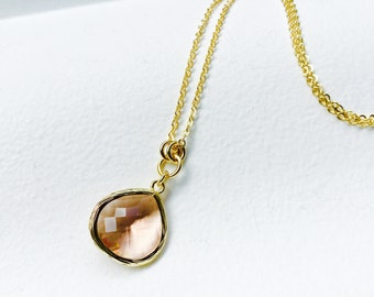 Peach Pink - Tear Drop - Crystal Glass Gold Long Necklace