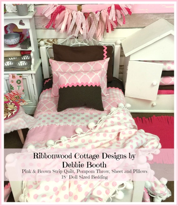 Sewing Pattern American Girl PDF Pattern Pink and Brown Strip Quilt, Sheet, Pillows and Pompom Throw- 18 inch doll size bedding