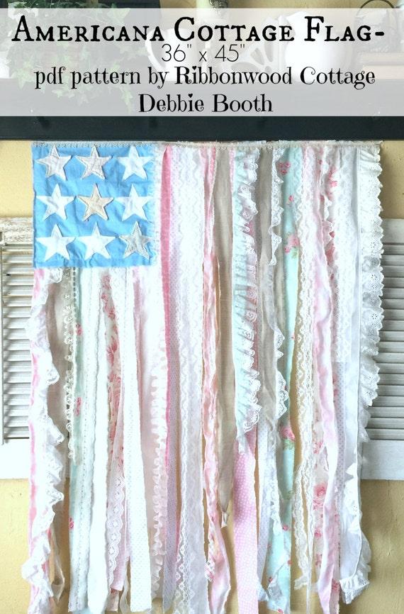 "Sewing Pattern PDF Americana Cottage Style Flag Wallhanging PATTERN - 36"" x 45"""