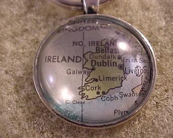 Atlas Map Key Chain / Ireland Key Chain / Ireland Key Ring
