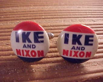 Cuff Links Ike and Nixon Vintage Campaign Pins - Free Shipping to USA