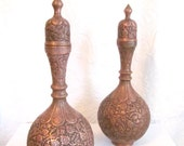 Exquisite Pair Persian Copper Vases Urns Decanters Ornate Carved Repoussé Chased  Birds Flowers