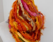 100 grams 1 skein recycled silk ribbon  knitting crochet craft embellishment yarn orange