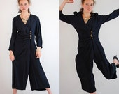 SALE SALE Black Jumpsuit Vintage 80s Does 40s Black Draped Wide Leg Palazzo Jumpsuit (m l)