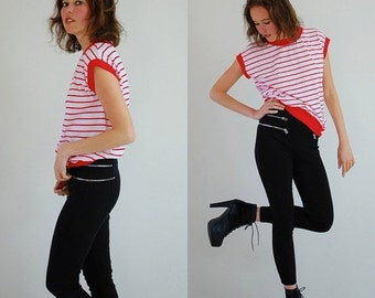 sale 25% every sunday Blousy Stripe Top Vintage 90s Red and White Striped Slouchy Indie Hip Hop Knit Shirt (s m)