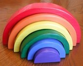 Stacking Rainbow Children's Puzzle, Handmade Wooden Montessori Toddlers Educational Toy, Veteran Made in USA Child's Puzzle
