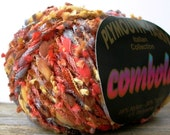 plymouth yarns combolo . pumpkin pie 1027 . 47yd . mini balloon sausage butterfly tassel fringe sparkle novelty yarn . orange destash yarn