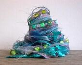 mermaid fiber effects™  12yds novelty art yarn bundle ribbon embellishment textile fiber art pack . aqua lavender periwinkle peridot