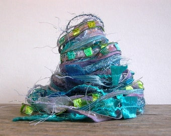 mermaid fiber effects™  12yds novelty art yarn bundle ribbon embellishment textile fiber art pack . aqua lavender periwinkle peridot