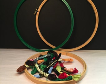 "3 Embroidery Hoops (2 - 10"" and 1 - 8"") & 18 Embroidery Floss"