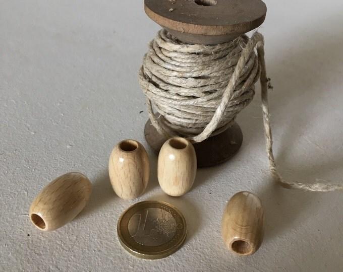 Set of 5 big wooden olives beads, polished and varnished 22/32 mm for macramé