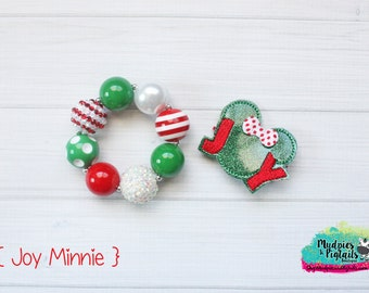 Christmas baby Hair Clippie or bracelet [ Joy Minnie } red white green Christmast bracelet, Mouse Hair Clip, Barette, Hair Bow No Slip