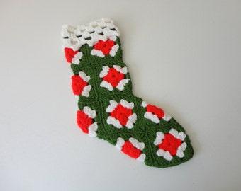 VINTAGE crochet granny square CHRISTMAS STOCKING