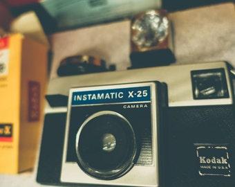 Vintage Kodak Instamatic X-25 Camera Fine Art Print - Vintage, Nostalgic, Photography, Gift, Photographer, Lens, Shutter, Film, Retro, USA