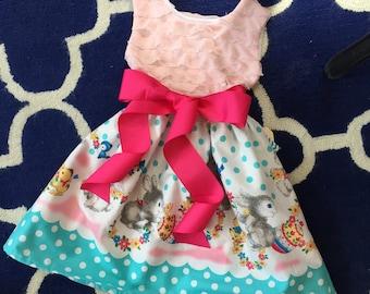 Girl's Easter Dress - bunny dress, Easter dress, vintage, pastel, knit, vintage modern kids, marks