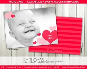 Flutter of Hearts Printable Valentine's Day Photo Card : Personalized Photo Valentine's Day Card - Pink Hearts - Item VA104