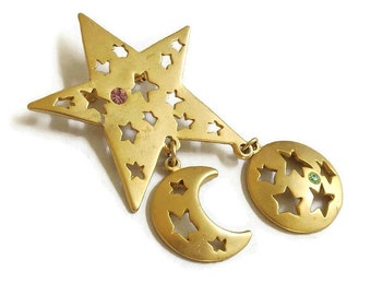 Vintage Rhinestones and Gold Tone Stamped Metal Star and Dangle Crescent Moon and Full Moon Brooch
