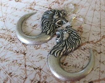 Roaring Lion Earrings lion jewelry statement jewelry dangle earrings vintage lion earring handmade Leo Earrings silver lion drop earrings