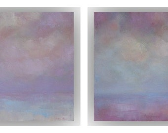 Set of 2 Small Abstract Landscapes- 10 x 10 Purple and Blue Field Sky and Cloud Oil Paintings- Original Palette Knife Art on Canvas
