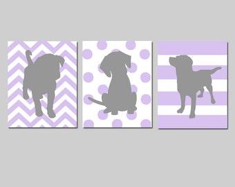 Lavender Purple Gray Puppy Dog Nursery Decor Baby Girl Nursery Art Trio - Set of Three 11x14 Prints - Chevron, Polka Dots, Stripes
