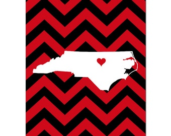 Graduation Gift State Silhouette - High School Graduation Dorm Room Decor - School Colors Sports Team Chevron - Choose Your State and Colors