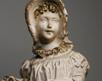 Lamp Base- PEASANT GIRL- French Provincial Style- Plaster Statue- Rustic Worn Patina C-03