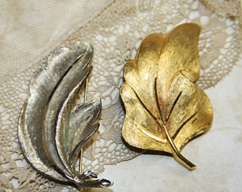 Vintage BROOCH (2)- BSK Signed- LEAF Pins- Flora- Gold & Silver Jewelry