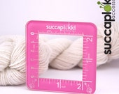 Silmuccaruutu -Knitting Gauge Checker, pink knitting tool with two scales, precise square made out of recycled plastic