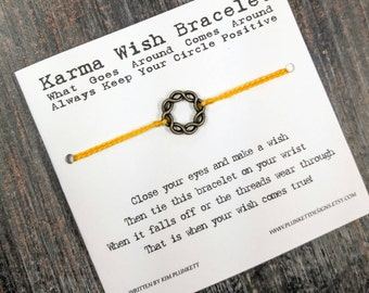 Karma Wish Bracelet - Available In Over 100 Different Colors!!!  (Woven Circle Charm - Antique Gold)