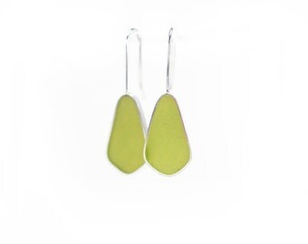 Absolute Earrings Made to Order in moss green resin sterling silver