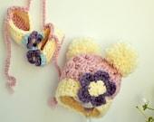 Crochet Baby Hat, Baby Girl Hat, Cute Girl Hat, Pink Newborn Hat, Purple Baby Hat, Newborn Beanie, Newborn Photo Prop