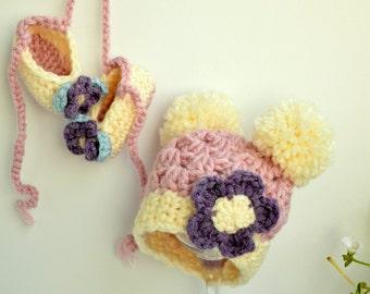 Newborn Girl Hat Cute Baby Beanie Baby Photo Prop Hat Big Pompoms Flower Pink Purple Newborn  to 6 Month