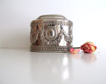 Vintage Ornate Silver Plated Coffin Box Jewelry Casket Wedding Gift Valentines Day Ring Box