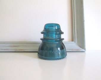 Vintage Glass Insulator Turquoise Hemingray Garden Art