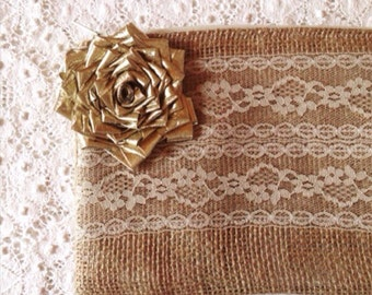 Gold Bridesmaid Clutch - Bridesmaid Gift - Rustic Wedding - Gold Clutch - Maid Of Honor Clutch - Burlap Bag - Elegant Bag - Ready to Ship
